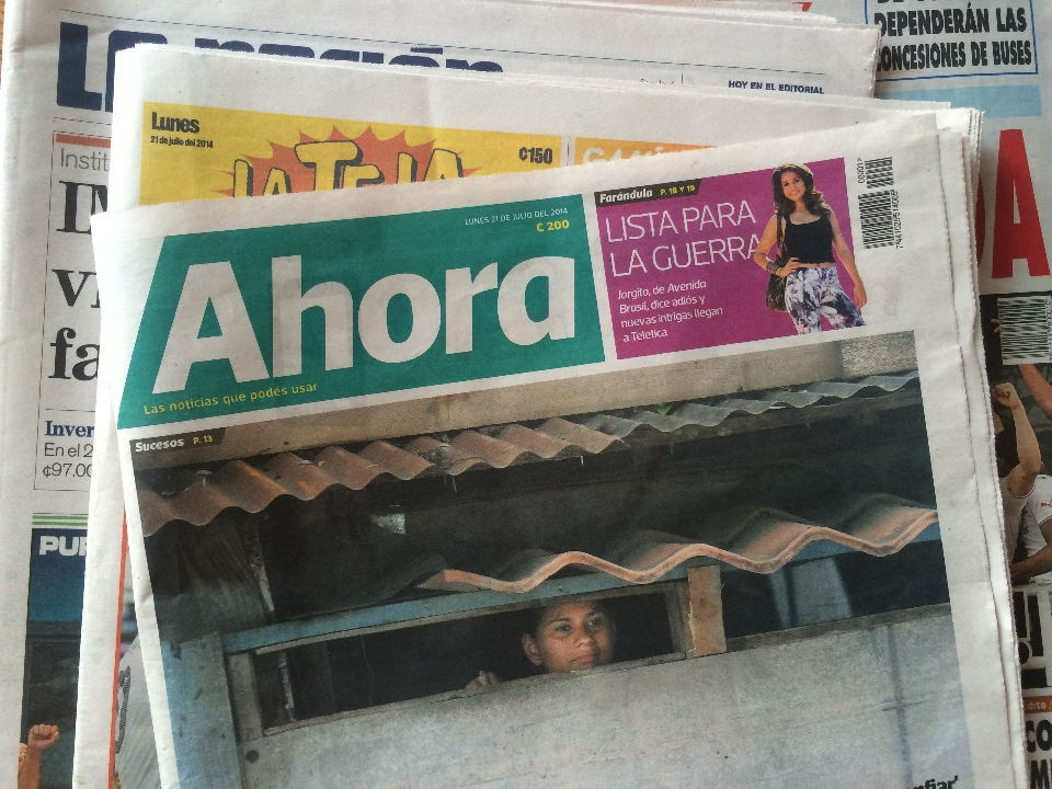 """Ahora"", a news newspaper launched this morning in Costa Rica."
