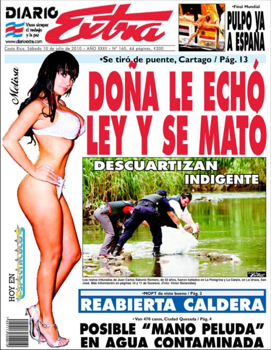 Typical Diario Extra front page.