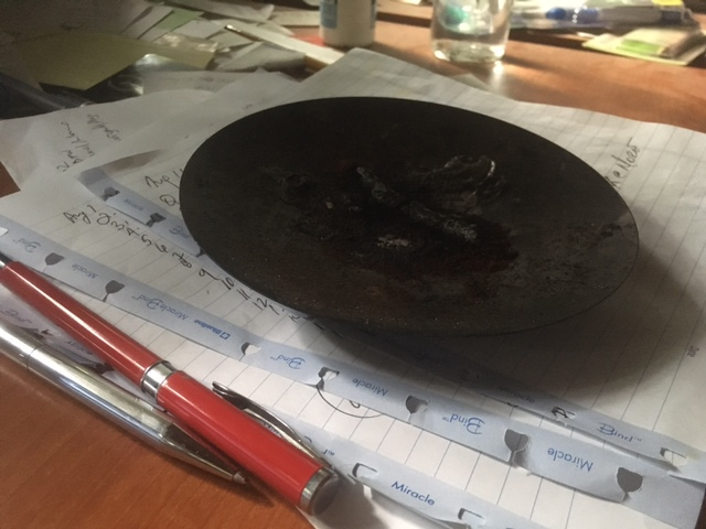 This is my tray for burning coffee. This is from the burn last night.